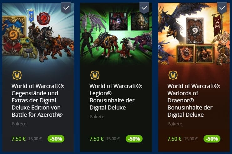 Digital Deluxe Pakete im Blizzard Shop
