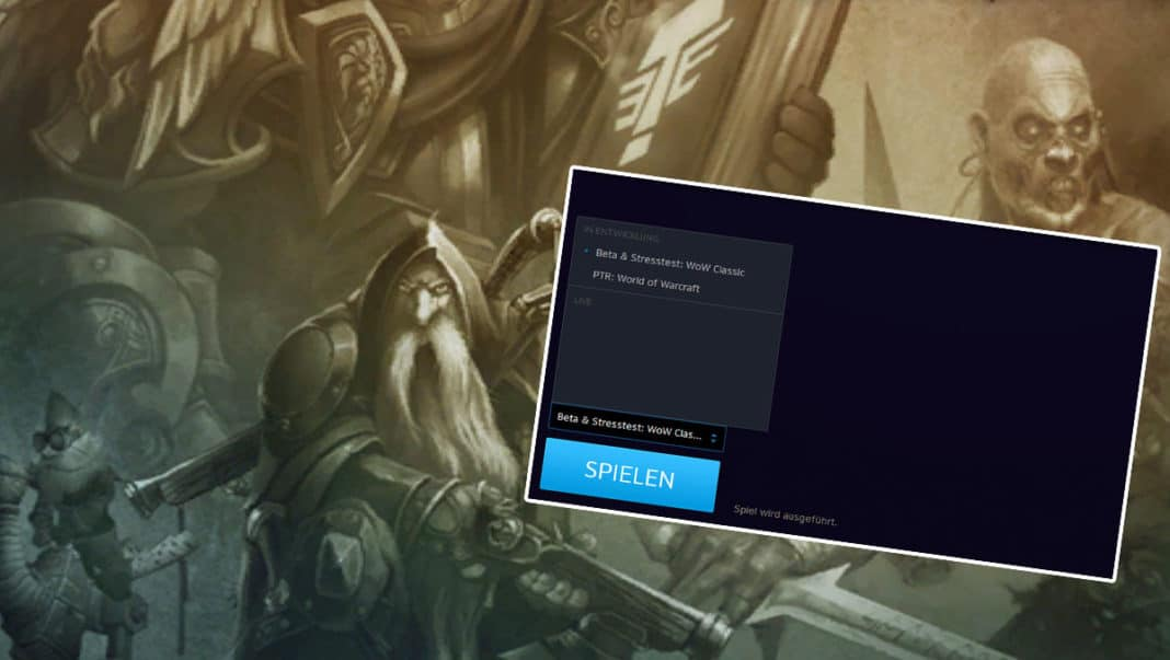 WoW Classic Beta Client Launcher Anzeige