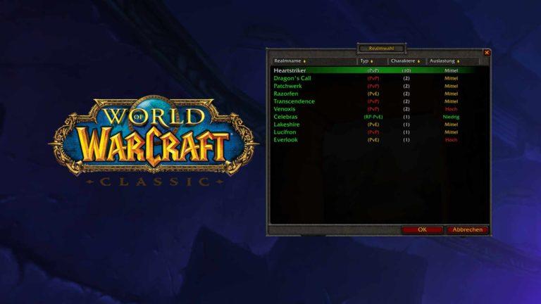 WoW Classic Server: Era-Realms, Verknüpfungen & Population